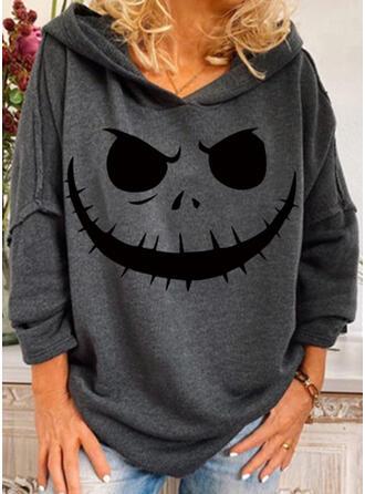 Halloween 印刷 長袖 パーカー