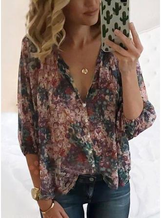 Floral V-Neck 3/4 Sleeves Button Up Casual Elegant Blouses