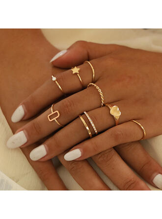 Stylish Alloy With Star Heart Rings (Set of 8)