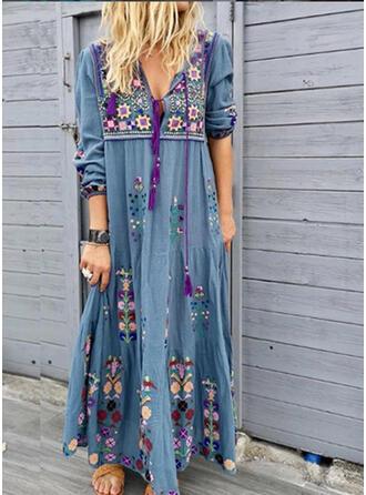 Print/Floral 3/4 Sleeves Shift Casual/Vacation Maxi Dresses