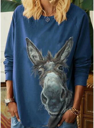Djur Round Neck Långa ärmar Fritids T-shirts