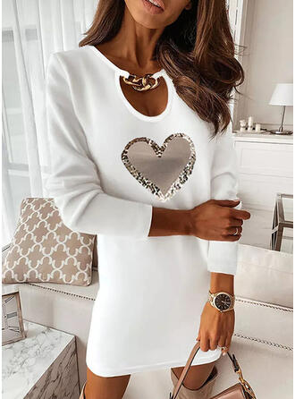 Print/Heart Long Sleeves Shift Above Knee Casual Tunic Dresses