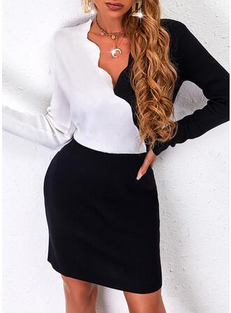 カラーブロック 長袖 シースドレス 膝上 カジュアル セーター ドレス