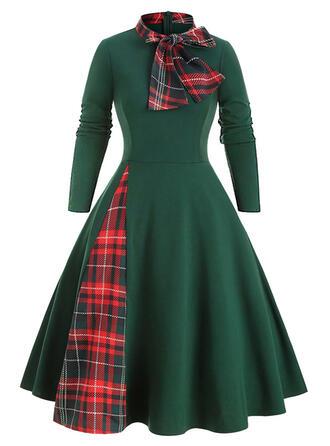 Tela escocesa Manga Larga Acampanado Hasta la Rodilla Casual Vestidos