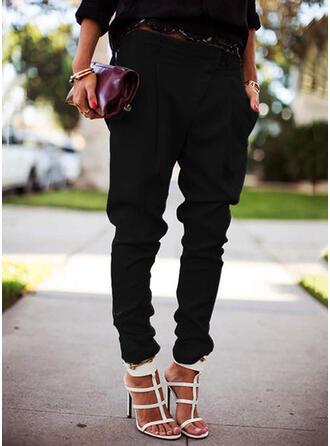 Sólido Largo Casual Tallas Grande Bolsillo shirred Pantalones