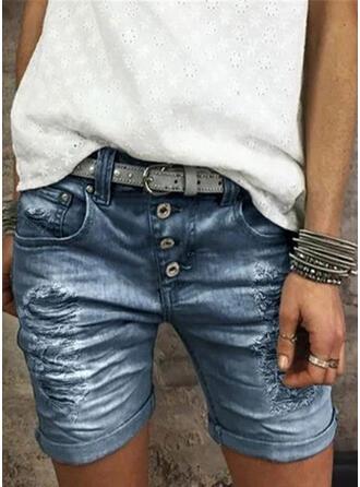 膝上 カジュアル ビンテージ プラスサイズ pocket shirred rippped ボタン パンツ ショートパンツ デニムジーンズ