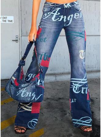 Print Bogstav Jean Lang Casual Denim & Jeans