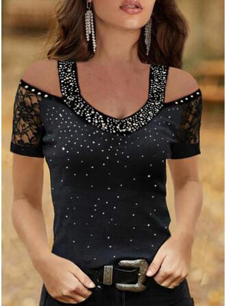 Print Lace Sequins Cold Shoulder Short Sleeves Elegant Blouses