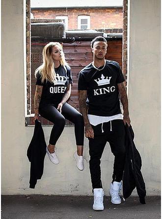 El si ea Literă Imprimeu Potrivire Cuplu T-Shirts