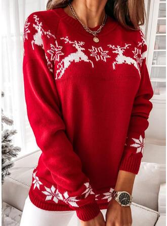 Navidad Impresión Reno Copo de nieve Cuello Redondo Casual Suéteres