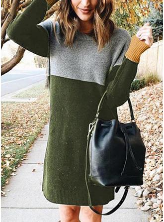 Bloque de Color Punto De Cable Cuello Redondo Vestido de Suéter