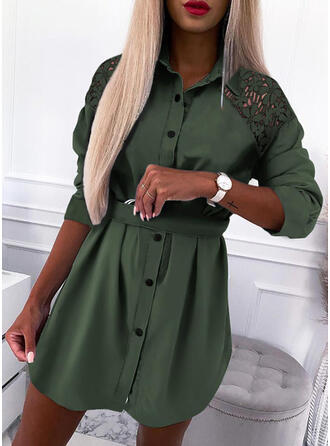 Lace/Solid Long Sleeves Shift Above Knee Casual Shirt Dresses