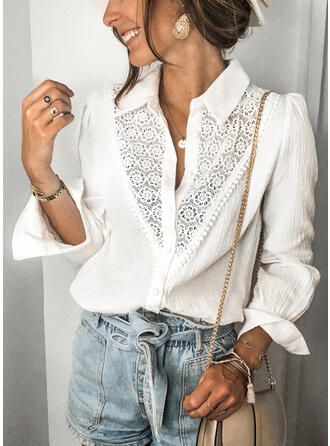 Solid Lace Round Neck Long Sleeves Button Up Casual Shirt Blouses