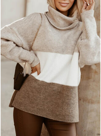Solid High Neck Casual Sweaters