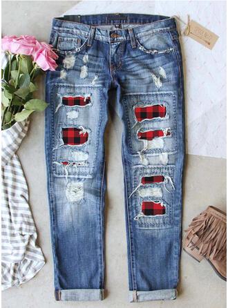 Patchwork Carreaux Grande taille Déchiré Décontractée Ancien Jeans