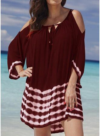 Tie Dye Mangas 3/4/Top sin hombros Tendencia Sobre la Rodilla Casual/Vacaciones Vestidos