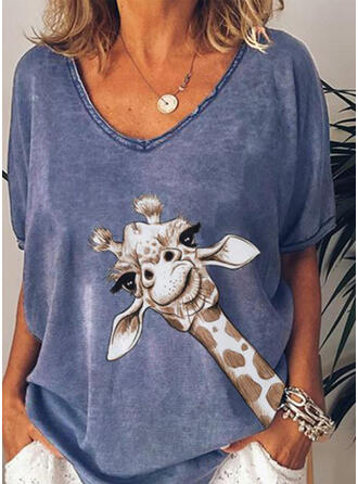 Estampado Animal Cuello en V Manga corta Casual Camisetas