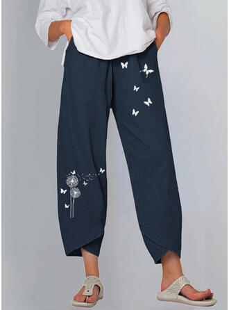 印刷 タンポポ 蝶 リネン コットン クロップド カジュアル ビンテージ プラスサイズ パンツ ラウンジパンツ