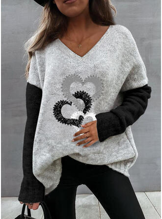 Impresión Trozos de color Corazón Cuello en V Casual Suéteres