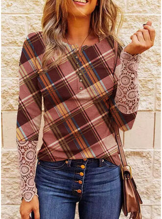 Print Plaid Lace Round Neck Long Sleeves Casual Blouses