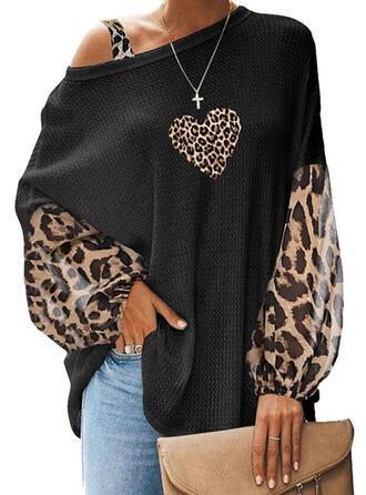 Print Leopard Hjärta En-axels Långa ärmar Fritids Blusar