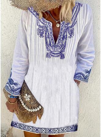 印刷 長袖 シフトドレス 膝上 ボーホー チュニック ドレス