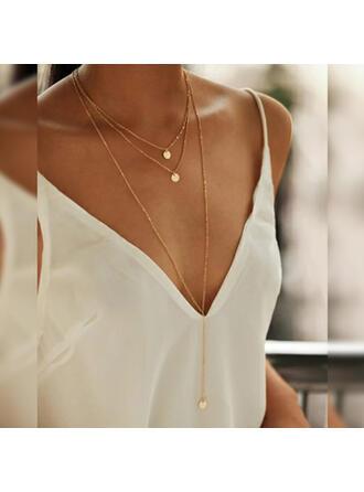 Simple Encanto Aleación cobre Sistemas de la joyería Collares (Juego de 3)