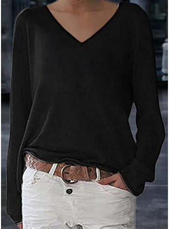 Solid Sequins V-Neck Long Sleeves T-shirts