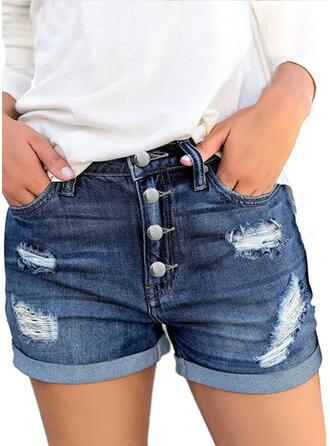 Sólido Por encima de la rodilla Casual Clásico Tallas Grande Bolsillo shirred rasgados Botones Pantalones Pantalones cortos Vaqueros