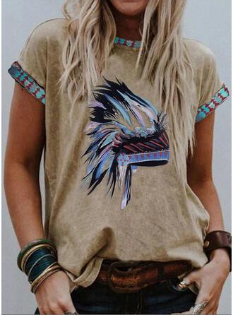 Print Rund-ringning Korta ärmar T-tröjor