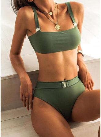 Couleur Unie Taille Haute À Bretelles Sexy Décontractée Bikinis Maillots De Bain