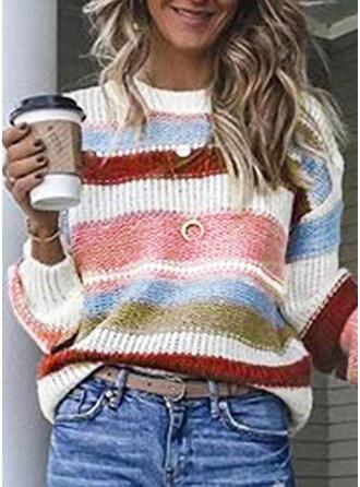 Bloque de Color Acanalado Cuello Redondo Suéteres