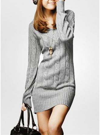 Sólido Cuello en V Vestido de Suéter