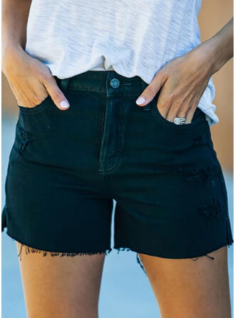 Solid Plus Size Sexy Vintage Shorts Denim & Jeans