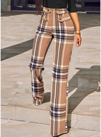 Plaid Long Casual Button Pants