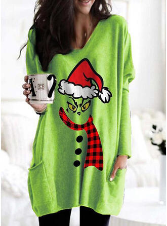 Print Grid V-Neck Long Sleeves Christmas Sweatshirt