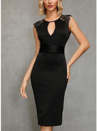 Encaje/Sólido Ajustado Asimétrico Pequeños Negros/Elegante Vestidos