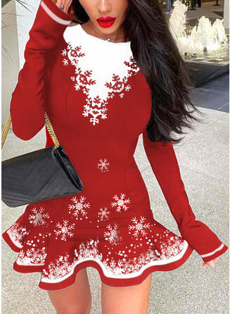 Navidad Impresión/Trozos de color Manga Larga Vestido línea A Sobre la Rodilla Elegante Patinador Vestidos