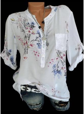 Kwiatowy Dekolt w kształcie litery V Rękaw 3/4 Zapięcie na guzik Casual Elegancki Bluzki