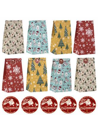 天然木材パルプ クリスマスの飾り キャンディーバッグ (24点セット)