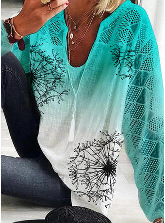 Print Tie Dye V-Neck 3/4 Sleeves Casual Blouses