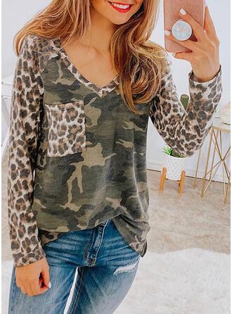 Leopard V-ringning Långa ärmar T-tröjor