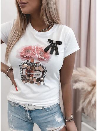 Figur Blommig Paljetter Rund-ringning Korta ärmar T-tröjor