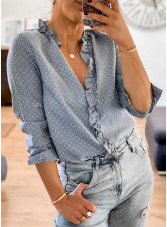 PolkaDot V-Neck Long Sleeves Casual Elegant Blouses