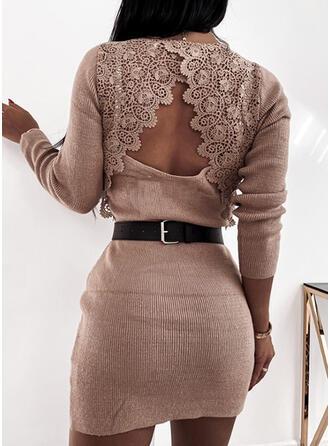 Jednolity Koronka Dekolt w kształcie litery V Długie Seksowny Sukienka sweterkowa