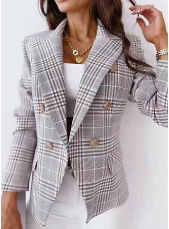 Long Sleeves Plaid Jackets