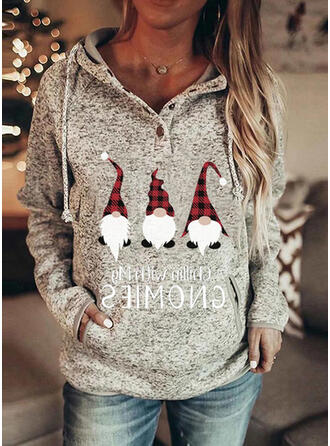 Print Grid Figure Long Sleeves Christmas Sweatshirt