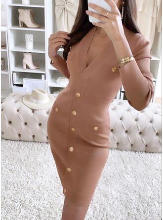 固体 Knit 長袖 ボディコンドレス 膝上 カジュアル ドレス