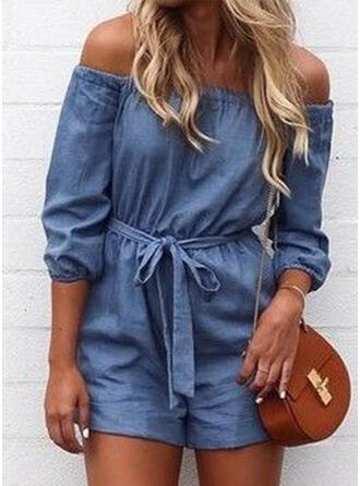 Solid Off the Shoulder 3/4 Sleeves Casual Denim Romper
