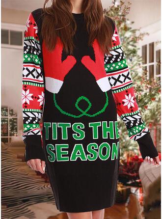 婦人向け 印刷 カラーブロック 文字 ダサいクリスマスセーター